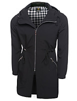 Men's Casual Slim Long Hooded Jacket Solid Hooded Long Sleeve Fall / Winter Black Cotton / Polyester Medium