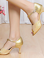 Non Customizable Women's Dance Shoes Leather Leather Latin Heels Chunky Heel Performance Silver / Gold