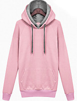 Women's Casual/Daily / Sports Simple / Active Regular HoodiesSolid Pink / Gray Long Sleeve Cotton Fall / Winter Thick