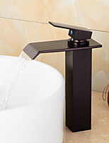 Contemporary ORB Brass Waterfall Bathroom Faucet - Black