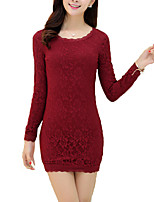 Women's Plus Size / Casual/Daily / Work Punk & Gothic / Sophisticated Sheath DressSolid Round Neck Above