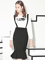 I'HAPPY  Women's Striped Black SkirtsVintage Knee-length