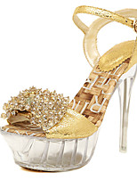 Women's Sandals Summer Platform PU Wedding Dress Party & Evening Stiletto Heel Platform Crystal Heel Crystal Buckle Gold Other