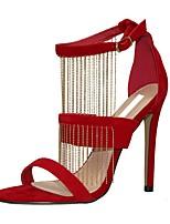 Damen-Sandalen-Kleid / Party & Festivität-Stoff-Stöckelabsatz-Neuheit-Rot