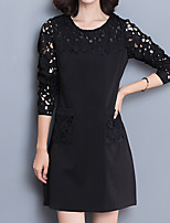 Women's Plus Size / Going out / Casual/Daily Street chic Lace DressPatchwork Above Knee Long Sleeve Red / Black