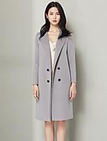 Xuebao Women's Casual/Daily Simple Fur CoatPolka Dot Cowl Long Sleeve Fall / Winter Gray Wool Thick