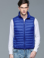 Men's Down Coat,Simple Casual/Daily Solid-Others White Duck Down Sleeveless Blue / Black / Gray
