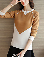 Women's Casual/Daily Cute Regular Pullover,Color Block Blue / Pink / Brown / Gray Round Neck Long Sleeve Polyester Fall / Winter Medium