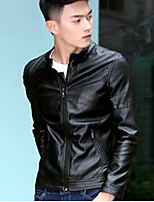 Men's Casual/Daily Simple Jackets,Solid Standing Collar Long Sleeve Fall Black / Brown Polyester Medium