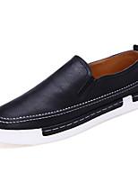 Herren-Loafers & Slip-Ons-Lässig-Leder-Flacher Absatz-Komfort-Schwarz / Grau