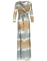 Damen Lose Kleid-Party/Cocktail / Übergröße Anspruchsvoll Einfarbig V-Ausschnitt Maxi Langarm Grau Polyester Alle Saisons Hohe Hüfthöhe