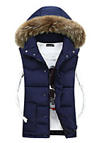Men's Long Down Coat,Simple Casual/Daily Solid-Others Without Filling Material Long Sleeve Hooded Blue / Red / Beige / Black