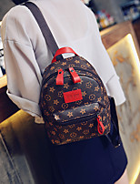 Women PU Casual Backpack Beige / Red