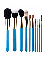 10 Makeup Brushes Set Goat Hair Portable Wood Face G.R.C / Send Package
