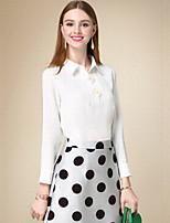 Chemise Femme,Couleur Pleine Décontracté / Quotidien simple Automne Manches Longues Col de Chemise Blanc Coton Moyen