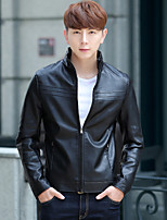 Men's Plus Size Street chic Leather Jackets,Solid Stand Long Sleeve Winter Black / Brown PU Thick