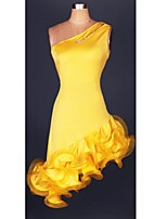 Latin Dance Dresses Women's Performance Spandex Draped 1 Piece Latin Dance / Samba Dress Belt