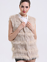 BF-Fur Style Women's Casual/Daily Sophisticated Fur CoatSolid V Neck Sleeveless Winter Beige / Black / Brown Rabbit Fur