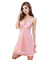 Women Babydoll & Slips Nightwear,Sexy Solid-Thin Chiffon Lace Pink