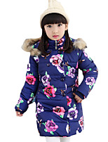 Girl's Casual/Daily Floral Down & Cotton Padded,Cotton Winter Blue / Pink