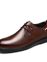 Черный / Коричневый-Мужской-На каждый день-Дерматин-На плоской подошве-Удобная обувь-Туфли на шнуровке