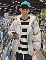 Men's Regular Padded Coat,Simple Casual/Daily Solid-Nylon Polyester Long Sleeve Silver
