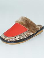 Mujer-Tacón Plano-Talón Descubierto-Zapatillas y flip-flop-Casual-Cuero-Rojo