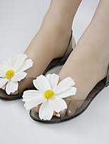 Women's Sandals Transparent Summer Comfort Leatherette Casual Flat Heel Flower Black Champagne Others