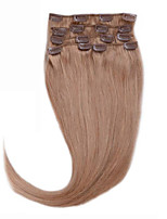 Clip In Virgin Human Hair Extensions 100% Real Human Hair Highest Quality 7pcs/set Golden Brown #12