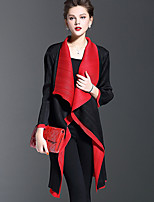 1898  Women's Casual/Daily Simple Trench CoatColor Block Cowl Long Sleeve Fall Black Polyester Medium