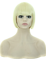 Bob Style Short Straight Wig with Bangs Blonde Color Synthetic Wigs for Women