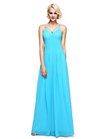 Lanting Bride®Floor-length Georgette Bridesmaid Dress - Elegant Sheath / Column Spaghetti Straps with Pleat