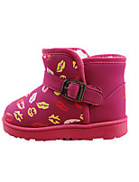 Girl's Boots Winter Comfort PU Casual Flat Heel Others Black / Red / Peach Walking