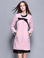 YBKCP  Women's Going out / Casual/Daily Vintage / Simple CoatSolid Round Neck Long Sleeve Fall / Winter Pink Polyester Medium