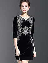 1898 Plus Size / Casual/Daily Vintage Sheath DressEmbroidered Sweetheart Above Knee  Sleeve Black