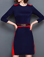 Women's Plus Size / Casual/Daily Vintage Bodycon DressColor Block Round Neck Above Knee Long Sleeve Blue Polyester