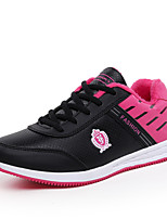 Women's Sneakers Fall Winter Comfort Leatherette Outdoor Casual Athletic Flat Heel Lace-up Black White Gray Walking