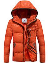 Пальто Простое Обычная Пуховик Мужчины,Однотонный На каждый день Полиэстер Пух белой утки,Длинный рукав Черный / Оранжевый