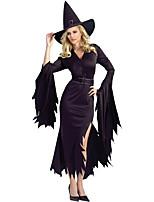 Costumes de Cosplay / Costume de Soirée Sorcier/Sorcière Fête / Célébration Déguisement Halloween Noir Imprimé Robe / ChapeauHalloween /