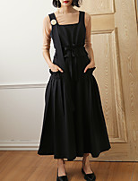 CHOCOLATONE Women's Solid Black JumpsuitsSimple Strap Sleeveless