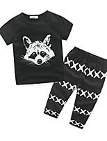 Boy's Casual/Daily Print Clothing SetCotton Summer Black