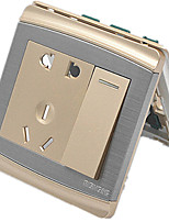 Switch Wall Switch Panel Opened A Single Hole Five-Hole Champagne Gold 86 Type Concealed