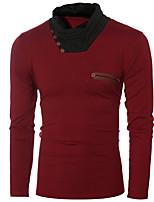 Tee-shirt Hommes,Couleur Pleine Décontracté / Quotidien simple Automne / Hiver Manches Longues Col Roulé Rouge / Gris Coton Fin