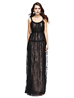 TS Couture® Formal Evening Dress Sheath / Column Scoop Floor-length Lace with Pleats