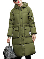 Women's Long Padded CoatSimple Going out / Casual/Daily Solid-Polyester Polyester Long Sleeve Hooded