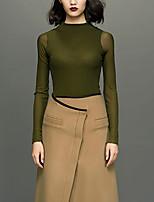 Chemise Femme,Couleur Pleine Décontracté / Quotidien simple Printemps / Automne Manches Longues Col Ras du Cou Vert Polyester Fin