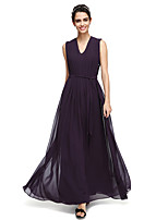 2017 Lanting Bride® Ankle-length Georgette Elegant Bridesmaid Dress - A-line V-neck with Draping