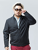 Men's Plus Size Simple JacketsSolid Stand Long Sleeve Fall / Winter Blue / Black Polyester / Spandex Medium
