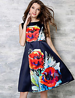 Women's Plus Size / Going out Simple / Street chic A Line DressFloral Round Neck Knee-length Sleeveless Blue Polyester