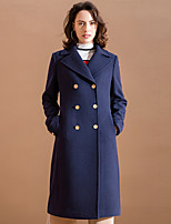Women's Going out Simple Coat,Solid Notch Lapel Long Sleeve Winter Blue Acrylic / Polyester Medium